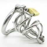 BDSM (БДСМ) - Stainless Steel Male Chastity device Cock Cage With Curve Cock Ring Urethral Catheter