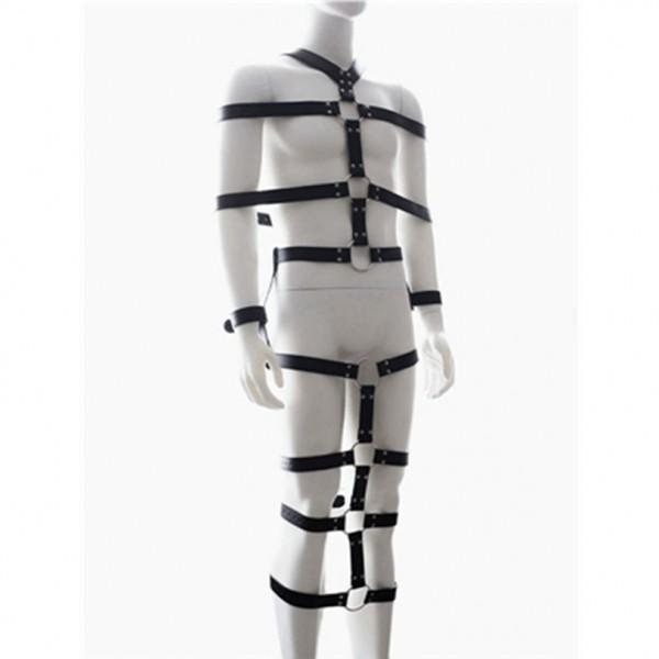 Black leather bondage body. Артикул: IXI47544