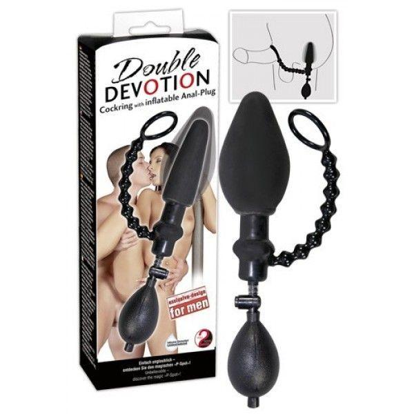 Анальная втулка с грушей и колечком для пениса Double Devotion