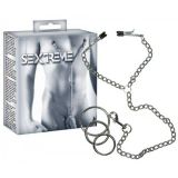 The Sextreme nipple clamps with metal cock ring