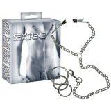 Зажимы на соски Sextreme с металлическим эрекционным кольцом