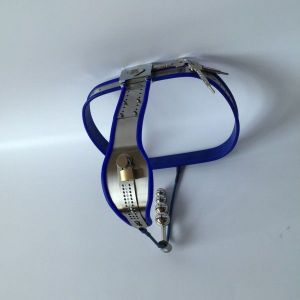 Female Adjustable Model-T Stainless Steel Anal Plug Chastity Belt with Locking Cover Removable BLUE
