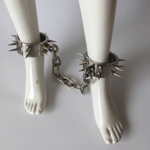 Unisex stainless steel spikes weighted iron dungeon legs with hex key