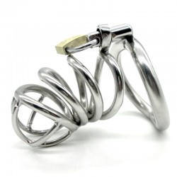BDSM (БДСМ) - Stainless Steel Male Chastity Device With arc-shaped Cock Ring