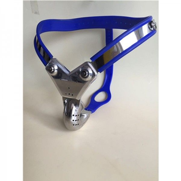 Male Model-T Stainless Steel most comfortable Chastity Belt BLUE