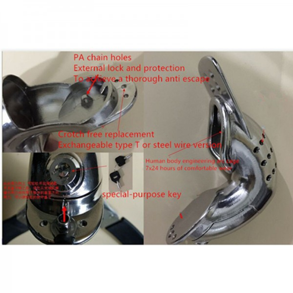 BDSM (БДСМ) - <? print Male Model-T Stainless Steel most comfortable Chastity Belt BLUE; ?>