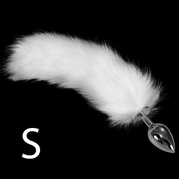 Прозрачная анальная втулка с  белым хвостом