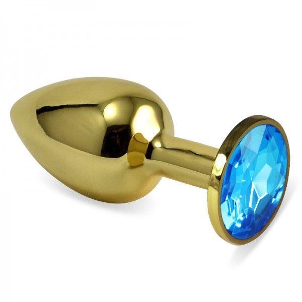 Гладкая анальная пробка золотистого цвета с голубым хрусталем размер S + подарочная упаковка