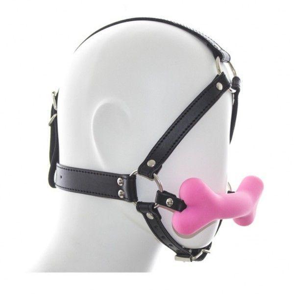 Черный классический кляп для рта в форме розовой силиконовой косточки