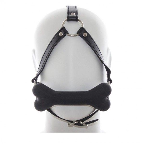BDSM (БДСМ) - Черный кжаный кляп для рта с мягкой силиконовой подушечкой-косточкой