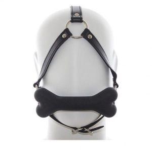 Черный кжаный кляп для рта с мягкой силиконовой подушечкой-косточкой