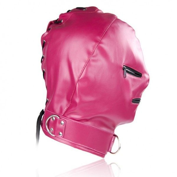BDSM (БДСМ) - Розовая маска Zipper из винилу