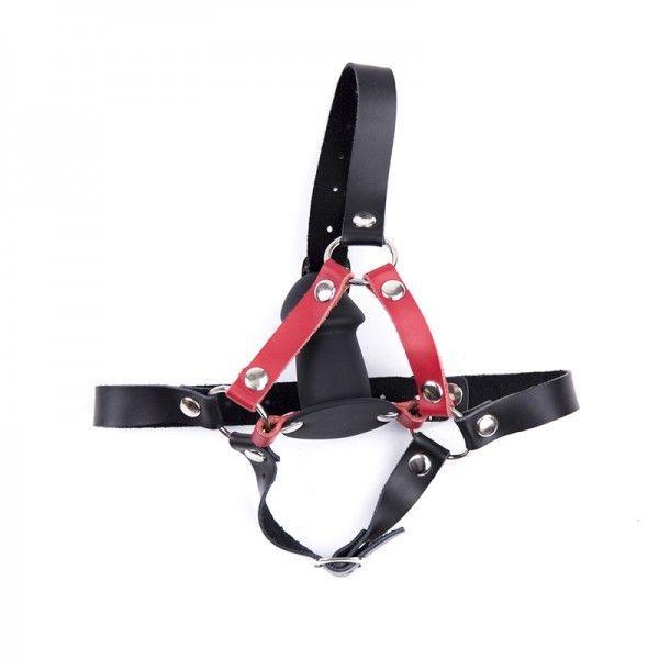 BDSM (БДСМ) - Черный кожаный ремень с силиконовый плагом