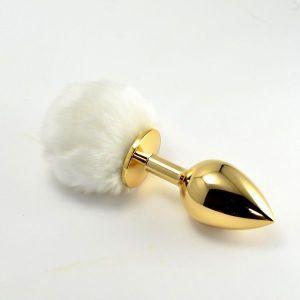 Золотая анальная игрушка с белым помпоном