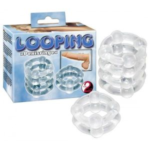 Set of two transparent silicone rings 2ER RINGESET LOOPING