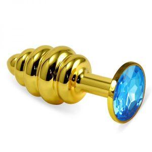 Ребристая анальная пробка золото, голубой