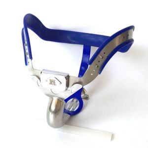 Male Chastity belt / Ergonomic stainless steel chastity belt - BLUE
