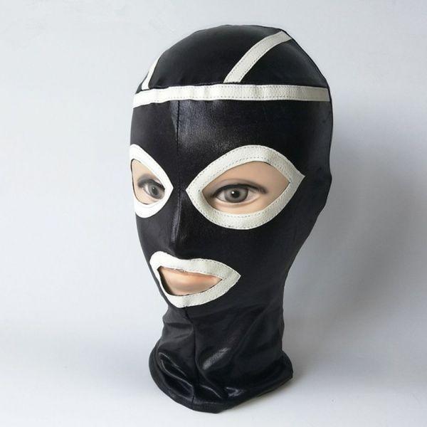 BDSM (БДСМ) - Черная виниловая маска с белыми вставками