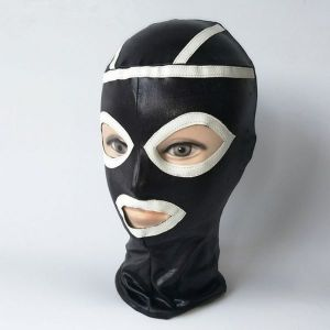 Black vinyl mask with white inserts