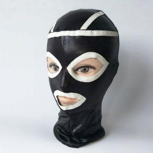 Black vinyl mask with white inserts