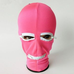Pink latex mask with hole for mouth and eyes