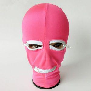 Розовая латексная маска с отверстием для рта и глаз