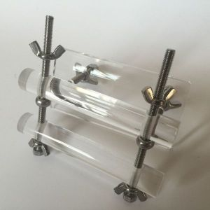 Transparent lock for a penis with a metal mount