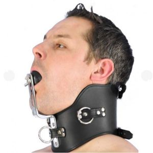 Black collar with ball gag Fixed