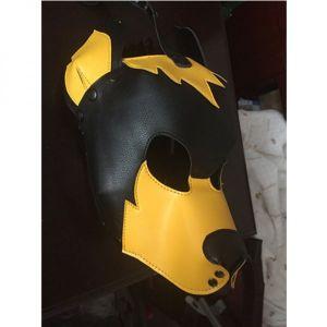 Yellow / Black Leather Dog hood