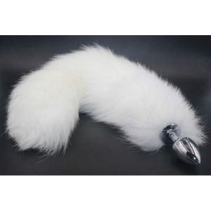 Butt plug with a white fluffy tail