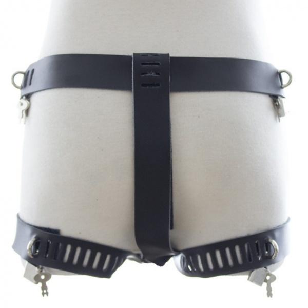 BDSM (БДСМ) - <? print Мужское бандажное кожаное белье черного цвета; ?>