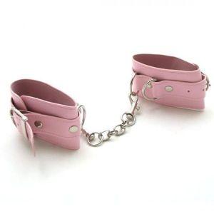 Розовые наручники из кожи