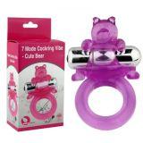 Эластичное эрекционное кольцо фиолетового цвета с вибро-мишкой