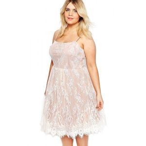 White Big Girl Sweet Lace Skater Dress. Артикул: IXI49096