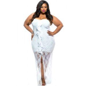 Ажурное белое платье без бретель - * Большие размеры