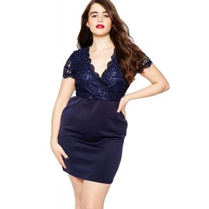 Navy Scalloped Lace Top Plus Size Bodycon Dress. Артикул: IXI49137