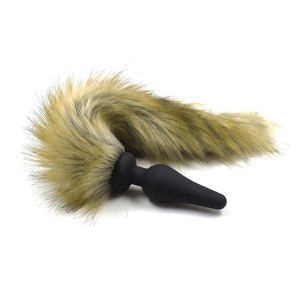 Black silicone plug with fur tail