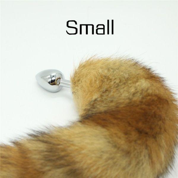 Анальная металлическая пробка с хвостом лисицы