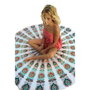 Peacock Print White Boho Beach Blanket - Пляжная одежда
