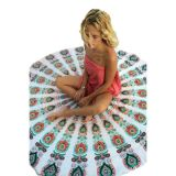 Peacock Print White Boho Beach Blanket по оптовой цене