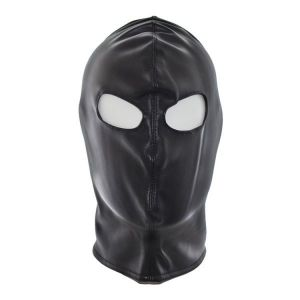 Black vinyl mask with cutouts for eyes