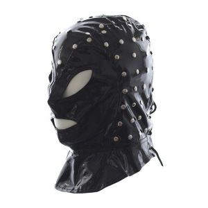 The mask of faux leather with a lace-up back