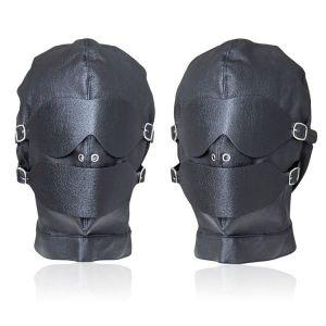 Черная кожаная маска длябдсм игр