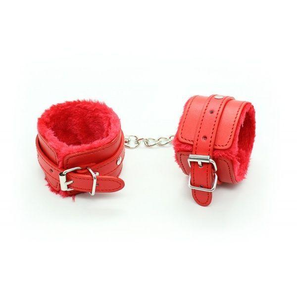 Гламурные красные наручники с мехом