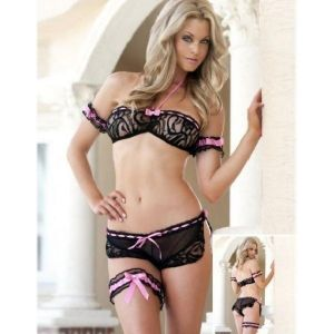 Lace fishnet lingerie with pink bows