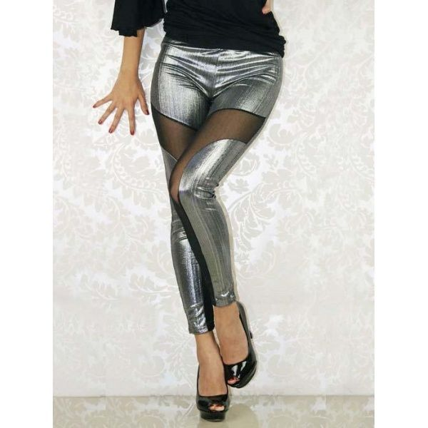 Shiny Silver Leather Mesh Leggings