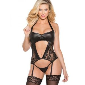 Black Wetlook Lingerie With Garter Belt