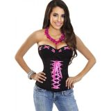 Black And Pink Lace Up Corset Top