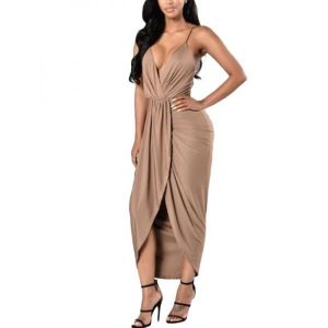 Apricot Deep V Long Women Dress. Артикул: IXI49807