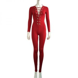 Red Onesies Deep V Neck Lace Up Jumpsuit. Артикул: IXI49879